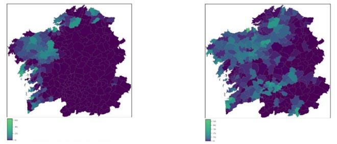 En claro, concellos con más tierras abandonadas con aptitud para cultivos y prados (izquierda) o para prados (derecha)