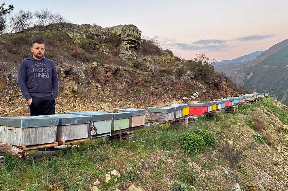 Héctor comezou producindo mel fai seis anos e desde hai dous está a recuperar tamén viñedos en Coea