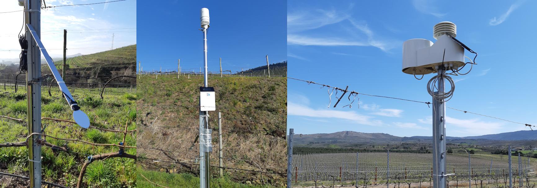 Fotos de estacións agroclimáticas de Agrigenio Vite que se están colocando en leiras de adegas en diferentes denominacións de orixe de Galicia