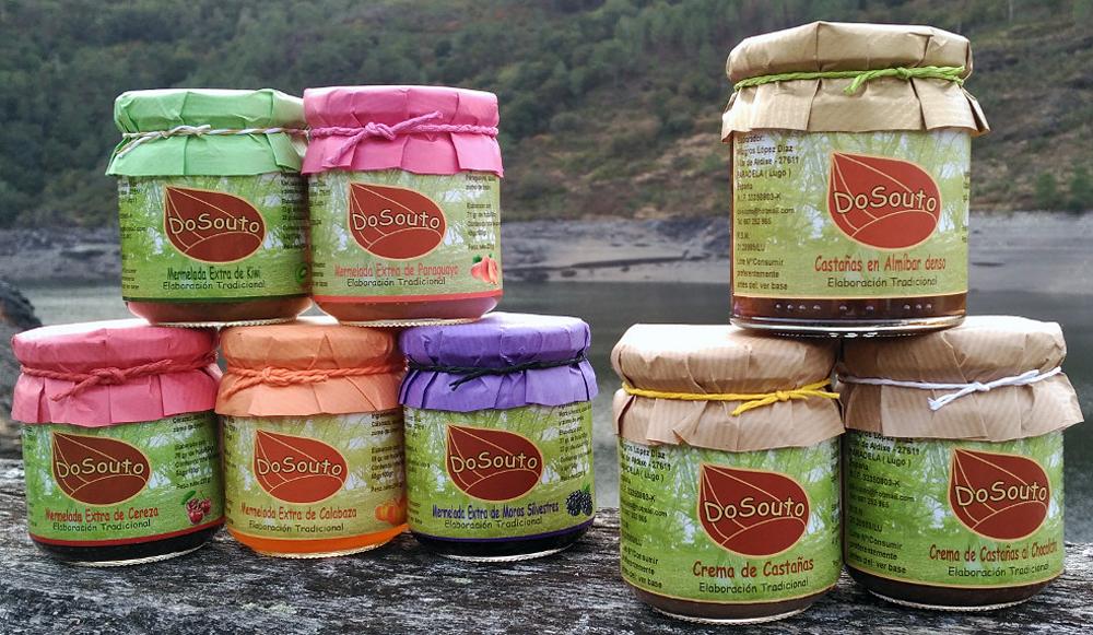 Gama de produtos DoSouto, que inclúe derivados de castaña e marmeladas de froitas