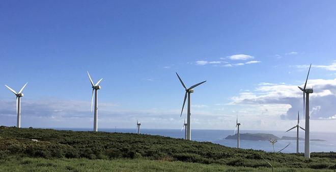 Parque eólico de Malpica, o primeiro dos construídos na Costa da Morte, repotenciado no 2017