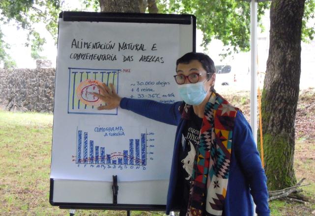 Un momento da ponencia de Fina Gonell sobre alimentación suplementaria de colmeas