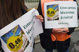 Presión a Central Lechera Asturiana, Lactalis, Carrefour, Gadis e Alcampo para que suban o prezo do leite