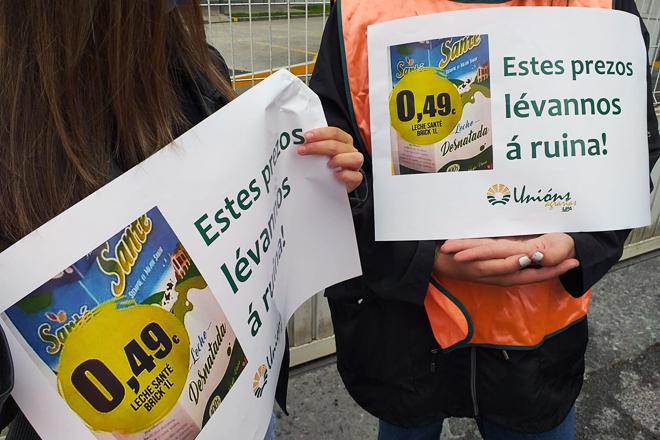 protesta UUAA impagos grupo Santé planta Outeiro de Rei prezos leite supermercado