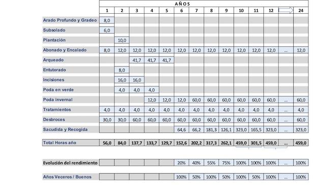 Horas de traballo que requiren as distintas tarefas no pomar. // Datos GB Auditoría.