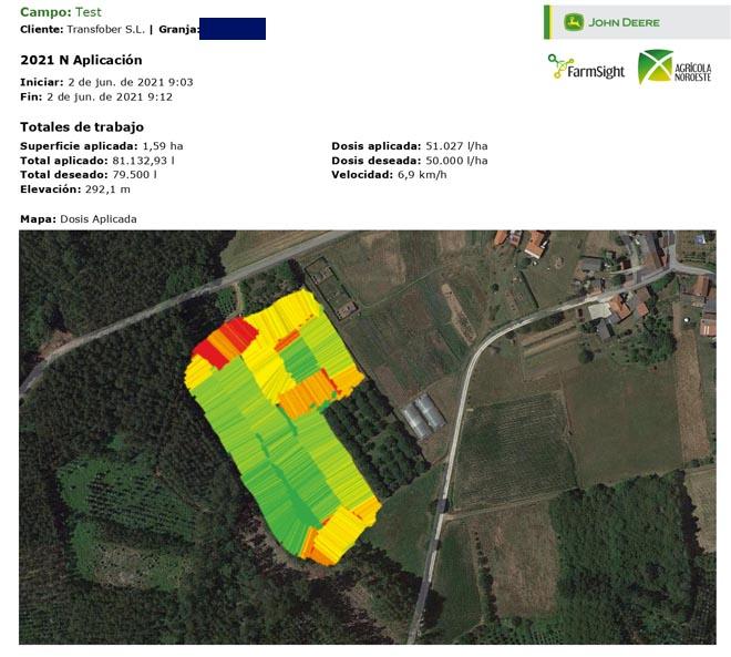 Mapa de rendimiento con la aplicación realizada en una parcela.