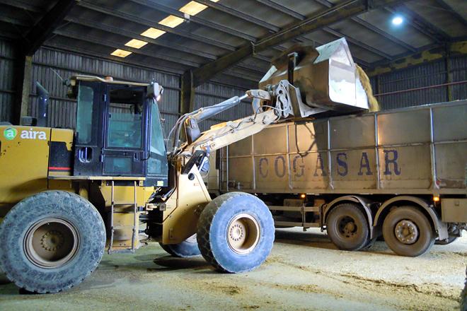 Cargando un dos camións que se encargan do reparto da mestura húmida ás explotacións